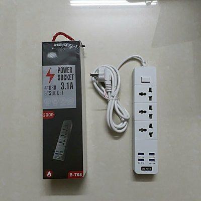 Giá ổ cắm điện 3 lỗ 4 usb remax chính hãng